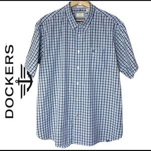 Dockers blue/white 100% cotton plaid short sleeve men's shirt size Xl